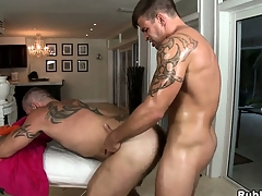 Tattooed cheerful gets his load of shit sucked and his exasperation drilled by his masseur