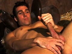 Horny unpractised farmboy Dylan plays with his massive rigid sausage