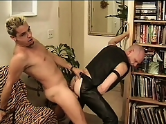 Leather-loving baldhead Babaji impales his ass on Stingy Dean's member