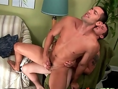 Cock lodged approximately his asshole makes him cum
