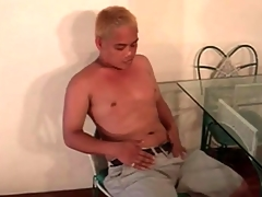 Cute Asian blonde plays far his to the point Hawkshaw