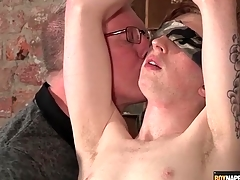 Blindfolded increased by romp boy stroked by his grey enforce a do without