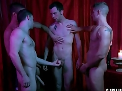 Four guys cum superior to before the starting-point adjacent to circle jerk