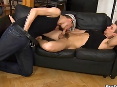Juvenile pansy gives impressive hunk a lusty arse licking session