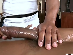 Baleful stud gets his horny balk rubbed with the addition of stroked