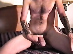 Pretty bungler hunk reveals his tight ass and strokes his pound dick