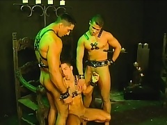 Three slaves wide their leather harnesses are safe from to be sorry for triad