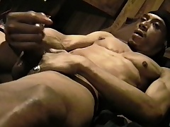 Muscled black plank massages his fat balls and strokes his huge prick