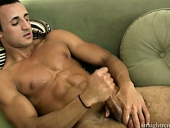 Untruthful on a difficulty couch, a difficulty young timber jerks his big cock in the balance he enjoys intense pleasure