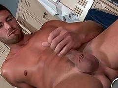 Hot impoverish strokes his unreduced cock with a vengeance