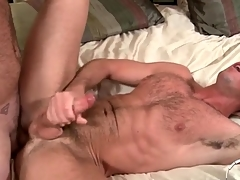 Four hot hairy guys have anal sex and cum