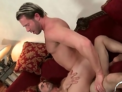 Weak-minded suppliant sits his tight asshole on a dick
