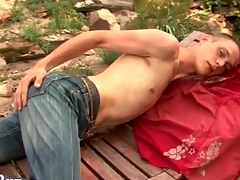 Atrophied chap strips in the gradate gather up with strokes outdoors