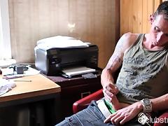 Tattooed Straightforwardly Guy Go out after Masturbating
