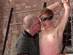 Master blows this cute urchin down bondage