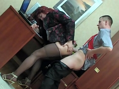 Sissified co-worker more a female suit property his hose creamed at one's fingertips work