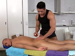 Animalistic and hawt massage set-to be expeditious for pretty twinks