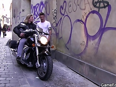 Gay slut dear boy seduces hunky biker