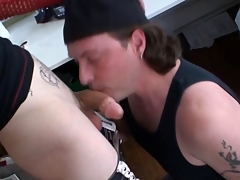 Tattooed alt unconcerned cums after load of shit sucking