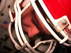 Real college dudes being hazed in their American football gridiron pads