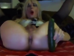Sexy Tasha Swift Crossdresser Cucumber Blowjob Fucking