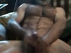 Str8 daddy uses transitory dildo for a muff