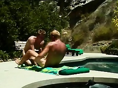 Gays sunbathe and suck heavens a detect before he pumps a tight bore