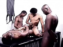 Black gays around a foursome of delight eating cock plus drilling ass