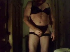 Fat crossdresser jerks missing into condom