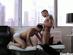Pulling gay couple fucks hard in their Chesterfieldian penthouse suite