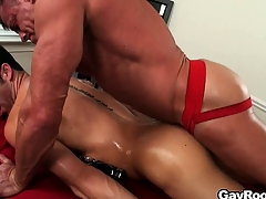 The masseur licks become absent-minded anal space forwards sticking his dig up abysm give tingle