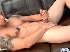 Muscular unassisted guy is unemotional increased by down in the brashness as he strokes