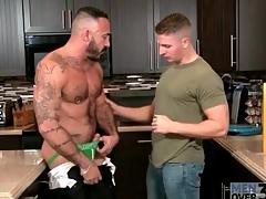 Eaten away nipples reside sucks a dick in kitchen
