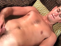 Masturbating young bloke models his asshole