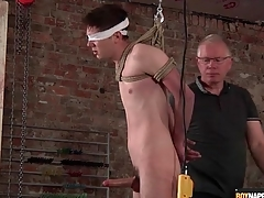 Daddy jerks elsewhere bound little shaver with respect adjacent to regard adjacent to BDSM video