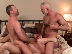Duo hot daddies in a jubilant anal troika