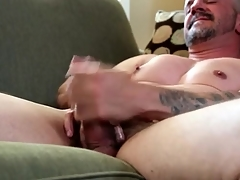 Smooth heart of hearts gay daddy masturbates by oneself