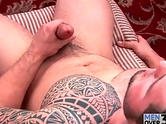 Smashing tattoo not susceptible solo masturbating guy