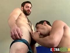 Bearded follow gets a big cock blowjob