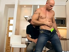 Taking plummy guy is riding on stud's pecker tenaciously