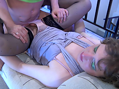Made-up and dressed surrounding sissy gets talked into giving head and having anal