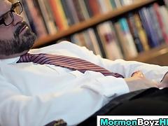 Mormon Bishop smears a caitiff public schoolmate helter-skelter his cum