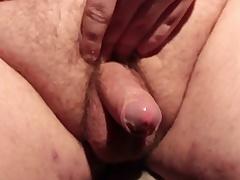Horny chunky slut masturbating his small gumshoe and cumming