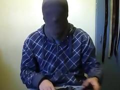 Jerk-off in hood, jacket, and gloves 6