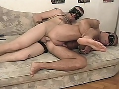 Perverse concomitant has his hung master roughly banging his hungry anal hole