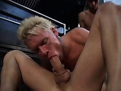 Four gays are moving down at it hot and heavy here exploding cocks