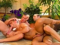 Hot blissful studs in a threesome of sexy head increased by anal intercourse