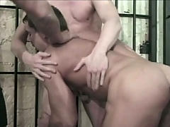 Hot gay orgy behind prison chamber doors