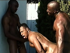 Three black studs close to nicked men engage up hot anal making love by make an issue of pool