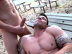 Duo buff studs try bareback anal sexual connection out in a reprobate beach